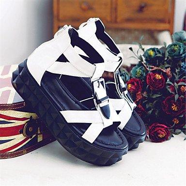 LFNLYX Sandalias mujer Primavera Verano Otoño Comfort Novedad Materiales personalizados polipiel parte & vestido de noche casual tacón cuña beige rosa White