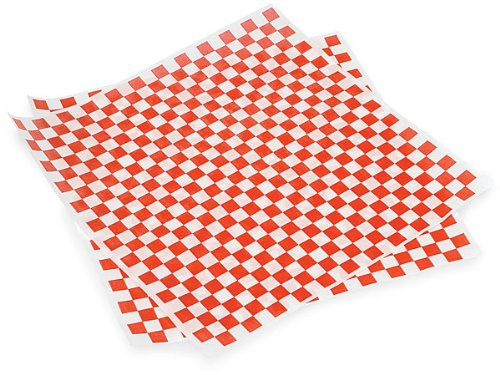 Distinct Possibilities Food Wrap and Basket Liner Paper, Red Checkered, 12 x 12 inch - 100 - Brownie White