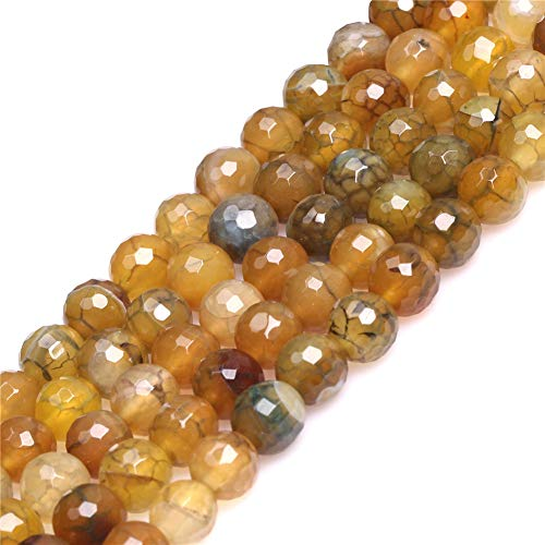 8mm Crackle Dragon Vein Agate Beads for Jewelry Making Natural Semi Precious Gemstone Round Faceted Yellow Green Strand 15