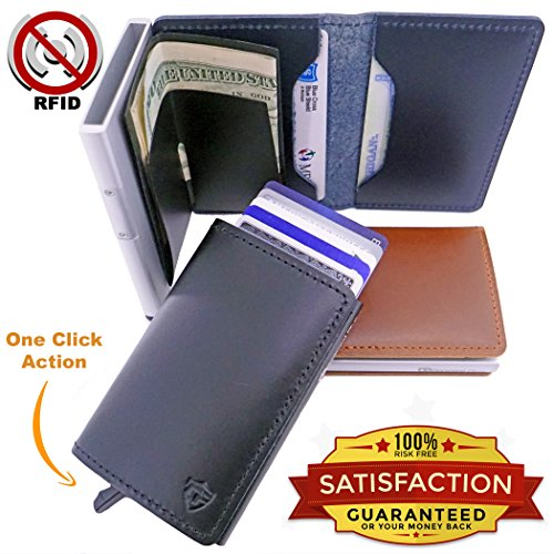 Best Minimalist Wallet | Card Blocr Mens RFID Blocking Credit Card Holder Top Grain Leather Front Pocket Slim Bifold Trifold Designer Metal Credit Card Wallet (Black/Black)