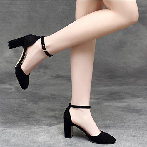 Hollow Sandali Jingsen Estive Scarpe Dimensioni Tacco Pelle In Black Con colore Black Baotou Stampa Femminile Tacchi Alti 38 nq4Yw4tH