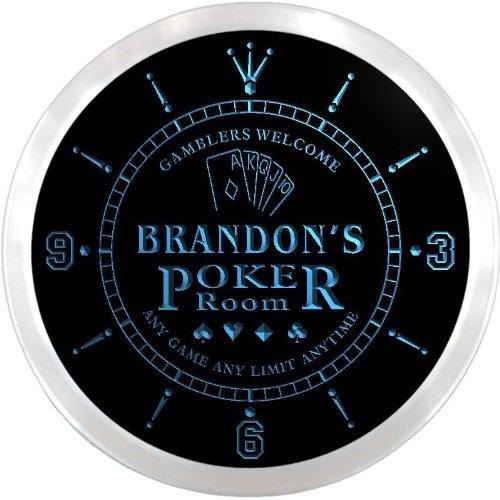 (ncx0068-tm Brandon's Poker Room Custom Name Neon Sign Clock)