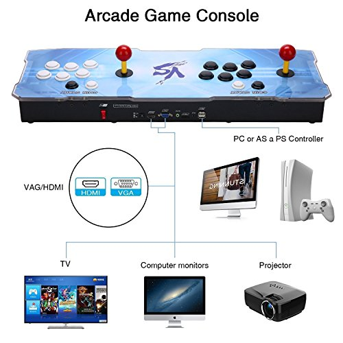 3D Pandora Key Retro Arcade Video Game Console | No Games Pre-loaded | Full HD (1920x1080) Video | 2 Player Game Controls | Support 4 Players | Add More Games | HDMI/VGA/USB/AUX Audio Output by HAAMIIQII (Image #2)