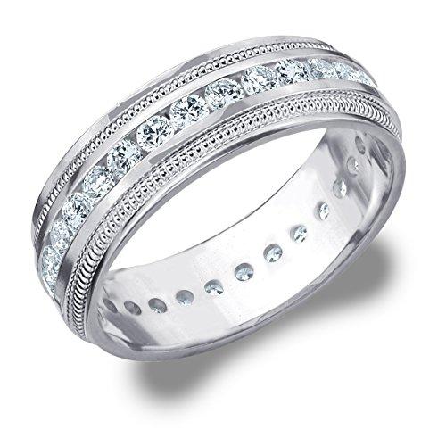 mens platinum milgrain ring - 8