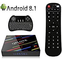 TV Box Android 8.1 QPLOVE H96 Max+ 4GB 64GB Smart 4K TV Box with Backlight Keyboard RK3328 64Bits CPU Support 2.4G/5G Dual Wifi/100M LAN/BT4.0/3D/KD18.0/USB3.0/H265 HD Media Player