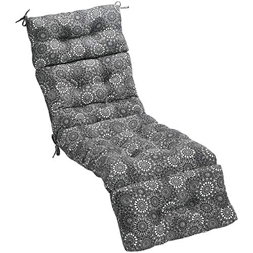 AmazonBasics Tufted Outdoor Lounger Patio Cushion - Black Floral (Long Cushions Outdoor)