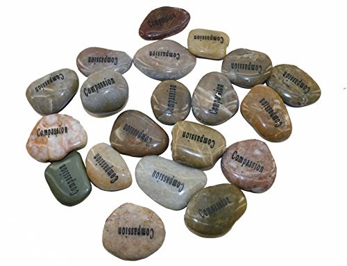 Wholesale Inspirational Word River Stones Etched Bulk Lot 40pcs Big Stones Compassion For Sale