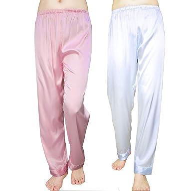 1ea9edc0efd8b1 Wantschun Damen Satin Silk Schlafanzug Nachtwäsche Hose Pyjama ...