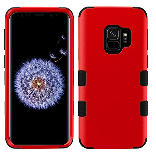 MyBat Cell Phone Case for Samsung Galaxy S9 - Titanium Red/Black Solid