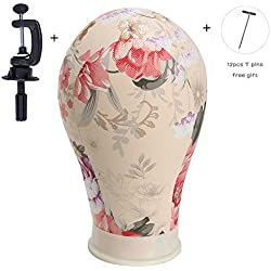 Printing Canvas Head Water Repellant Canvas Wig Head for Wig Making Styling and Display Premium Quality Wig Stand,by By.Beisrui (22.5)