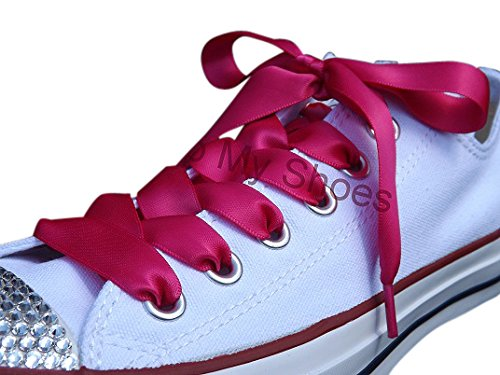 Shocking Pink Flat Satin Ribbon Shoelaces, Shoe Laces For Kids, Youths & Womens Converse All Star Sneakers