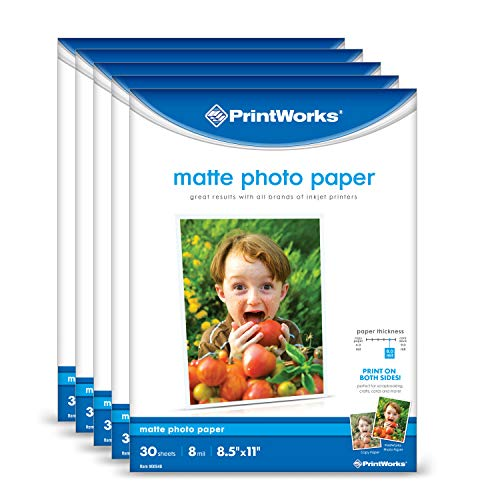 Printworks Matte Photo Paper for Inkjet Printers, Printable on Both Sides, 8 mil, (5 pack bundle) 150 Sheets, 8.5