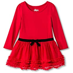 Girls Dress Red Long Sleeve Ruffle Skirt 12 Month