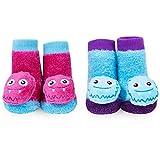monster feet socks - WADDLE Cute Silly Monster Rattle Baby Socks For Girls Blue Pink Purple Gift 0-12 Month