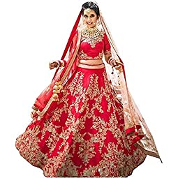 ShreeBalaji Creation Women's Silk Semi-stitched Lehenga Choli (Multicolored_free size)