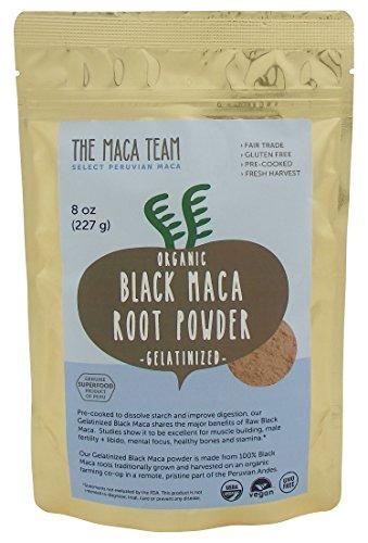 Organic Gelatinized Black Maca Root Powder - Fresh Harvest From Peru, Fair Trade, Gmo-free, Gluten Free, and Vegan, 8 Oz - 25 Servings