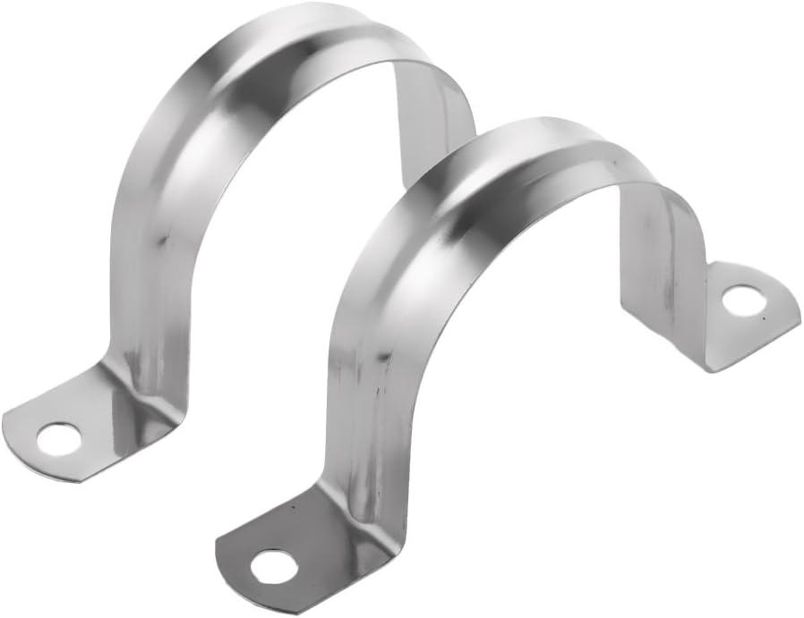 LOVIVER 2 x Tubo de Conducci/ón Abrazadera Forma U Estable para Tuber/ía a Postes Vigas de Acero Inoxidable #10 mm Plata