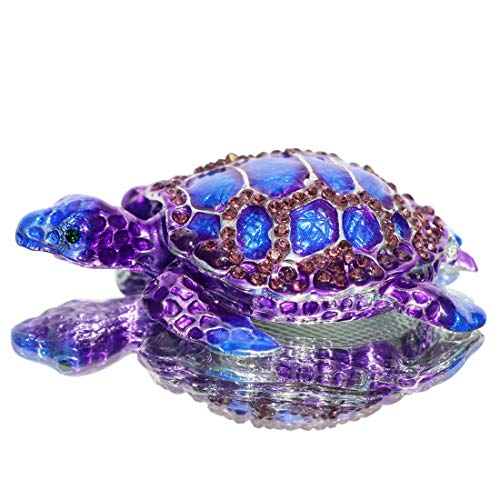 Waltz&F Purple Sea Turtle Figurine Collectible Hinged Trinket Box Bejeweled Hand-Painted Ring Holder (Figurines Collectible)