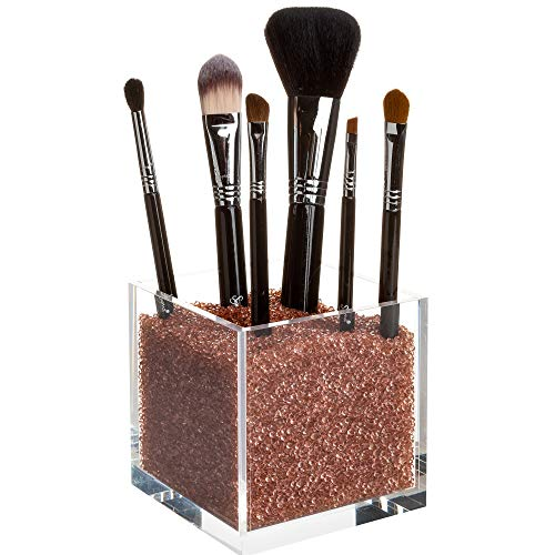 Luxury Acrylic Makeup Brush Holder with Over 50,000 Beautiful Rose-Gold Diamonds. Premium Quality, Hand-Crafted Acrylic - Over 75% Full of Diamonds to Hold Your Brushes Firmly in Place