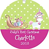 The Trendy Turtle Personalized 2018 Baby's First Christmas Tree Ornament Unicorn Pulling Sleigh with Gifts in Pink for Baby Girl Mom Free Custom Name