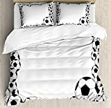 Soccer Twin Duvet Cover Sets 4 Piece Bedding Set Bedspread with 2 Pillow Sham, Flat Sheet for Adult/Kids/Teens, Monochrome Football Frame Pattern Abstract Illustration Playing Sports Game
