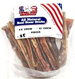 6″ Beef Steer Bully Sticks Odorless Sourced & Made USA Natural USDA certified (25 Pack) For Sale