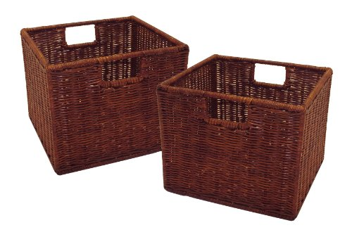Winsome Wood Leo Storage Baskets, Set of 2,Walnut Finish