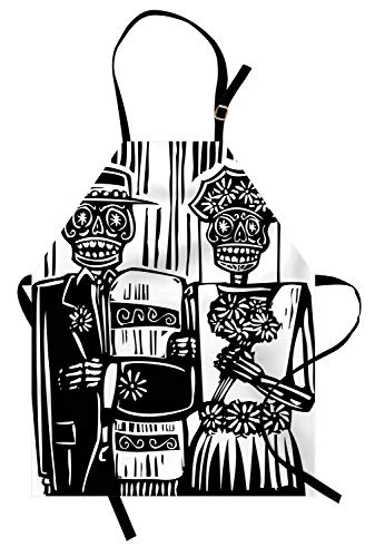 Ambesonne Day of The Dead Apron, Woodcut Style Skeleton Couple Wedding in Cemetery Image with Bride Groom, Unisex Kitchen Bib Apron with Adjustable Neck for Cooking Baking Gardening, Black White]()