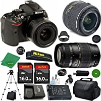 Nikon D5200 International Version - No Warranty, 18-55mm f/3.5-5.6 VR, Tamron 70-300mm DI LD Zoom, 2pcs 16GB ZeeTech Memory, Camera Case