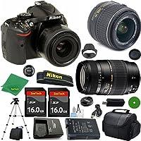 Nikon D5200 International Version - No Warranty, 18-55mm f/3.5-5.6 VR, Tamron 70-300mm DI LD Zoom, 2pcs 16GB ZeeTech Memory, Camera Case
