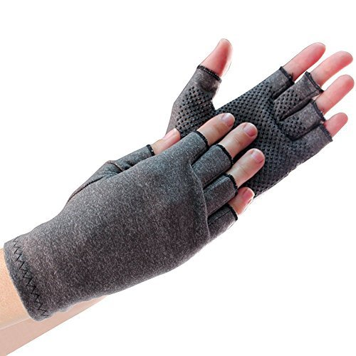 EasyComforts Light Compression Gloves With Grippers Set of 2 Pair