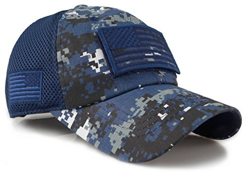 Camouflage Constructed Trucker Special Tactical Operator Forces USA Flag Patch Baseball Cap (Digital Navy) ()