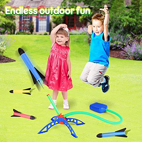 Bonbell Rocket Toy, 6 Rockets and 100 Feet Rocket Launcher for Kids, Durable Tripod Stand & Air Powered, Kids Outdoor Toy for Garden, Park, Birthday Gift for Boys Girls Age 3-12