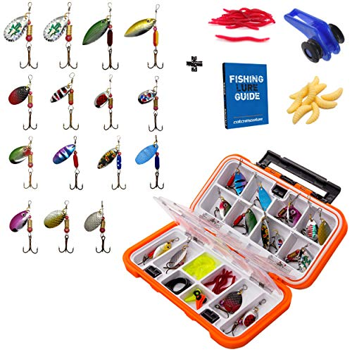 (Catchmeister Fishing Tackle Box and Spinner Lure Kit Double Layer Hard Plastic 28 Piece Saltwater & Freshwater Fishing Rig)