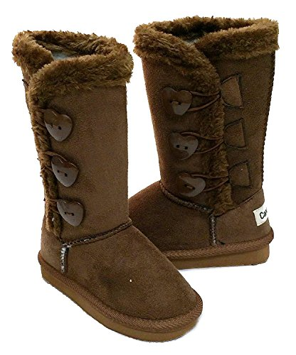 Fourever Funky Heart Buttons Kids Faux Sheepskin Fur Shearling Infant Girls Boots Brown