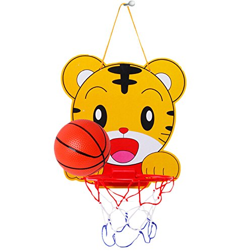 Yeefant Mini Tiger Basketball Slam Dunk Hoop Set,Over the Door Plastic Toy Backboard 12 X 11 Inch,1 Ball Pump,Simple Assembly, Kids Toy Basketball Hoop Board Plastic With Indoor Hanging Hoops (Basketball Hoops Cheap)