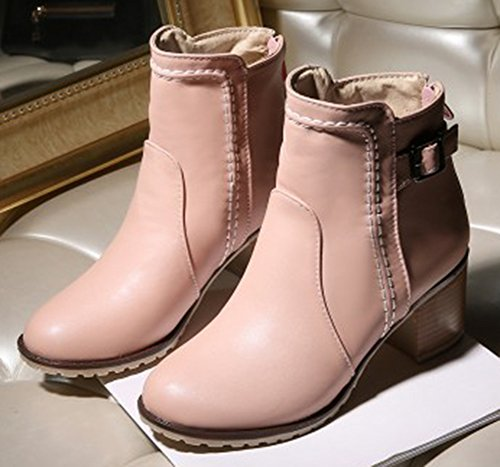 Short Chunky Casual Booties Heel Stacked Buckle IDIFU Pink Women's Ankle wCqxY1CT