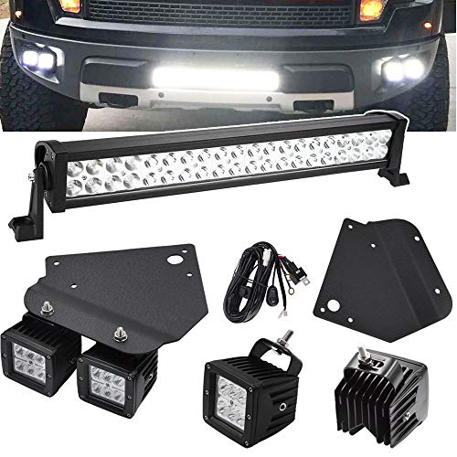 20 inch 120W Straight LED Light Bar and 4x 3 inch 18W LED Fog Light Pods & Hidden Bumper Dually Mounting Brackets for 2010-2014 Ford F150 SVT Raptor