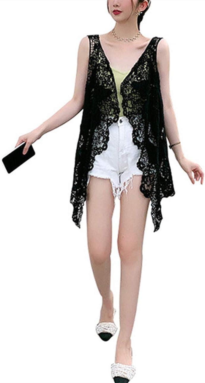Ecloud Shop Cárdigan de Encaje Floral Frente Abierto sin Mangas Ropa de Playa Chaleco con Flecos Tops Transparentes Chal Hueco para Mujer Niña Verano