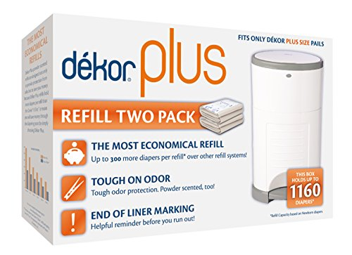 (Dekor Plus Diaper Pail Refills | Most Economical Refill System | Quick & Easy to Replace | No Preset Bag Size – Use Only What You Need | Exclusive End-of-Liner Marking | Baby Powder Scent | 2 Count)