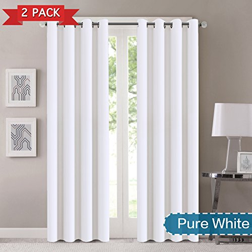 Flamingo P Extra Long 108 inches Curtains Panels for High Window Door - Moderate Panels for Living Room Thermal Insulated Grommet Top Triple Weave Drapes, Ultra Soft and Thick, 1 Pair, Pure White