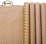 Arts & Crafts : Wrapping Paper - Gift Wrapping Paper - Kraft Wrapping Paper with Polka Dots and Patterns – Gold Gift Wrap - Premium Gift Wrap - 4 Rolls - 2.5 ft x 10 ft per Roll, Includes 7 Bows, 2 Rolls of Ribbon