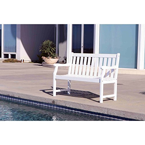 Patio Garden Bench, Standard Benches Classic and Eco-friendly 4-foot Crafted of Wood in Multi-coat and Weather- resistant White Paint Finished by Patio Garden Bench, Standard Benches Classic and Eco-friendly