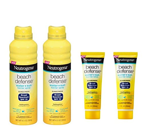 Neutrogena Beach Defense Spray Broad Spectrum SPF 70 Sunscreen, 6.5 Ounce (2 Pack) +Beach Defense Sunscreen Lotion SPF 70 Travel Size- 1oz, 29ml (2 Pack) by Neutrogena