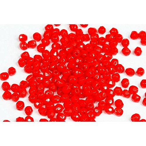 120 Pcs Czech Fire Polished Beads 3mm Round Glass Small Polished Faceted Opaque Red - Gablonz Glass