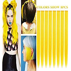 RHY 8 PCS Yellow Hair Princess Party Highlight Clip in Colored Hair Extension Costumes Hairpieces for American Girls/Dolls