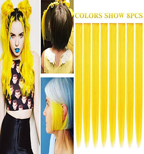 RHY 8 PCS Yellow Hair Princess Party Highlight Clip in Colored Hair Extension Costumes Hairpieces for American Girls/Dolls -