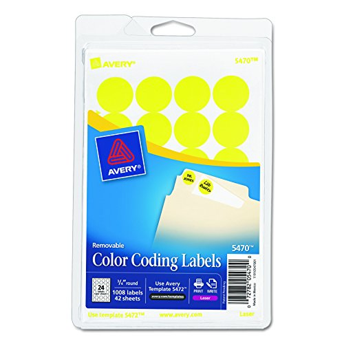 Avery Round Color Coding Labels Yellow