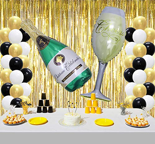 KAXIXI Champagne Bottle Goblet Party Balloons Decoration, Latex Balloons, Foil Fringe Backdrop Curtain for Graduation Bachelorette Ceremony Drinking Party -
