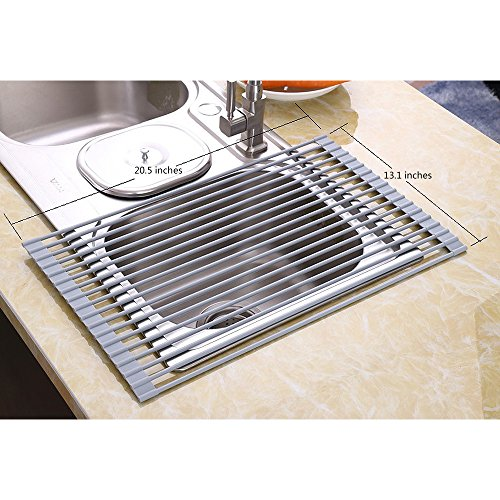 NEX Dish Racks Over The Sink Multipurpose Dish Drying Mat Roll-Up Rust Prevention with Cloth